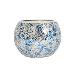 Globe Mosaïque Bleu & Argent