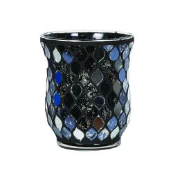 Vase Mosaïque Bleue et Grise
