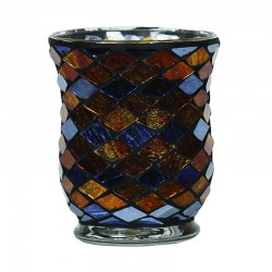 Vase Mosaïque Cuivre et Bleu